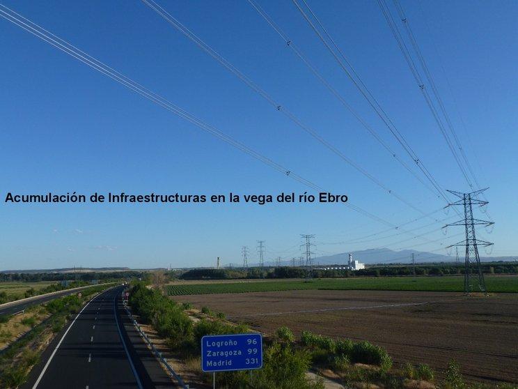 Sobreposición de infraestructuras impactantes en la Vega del Ebro