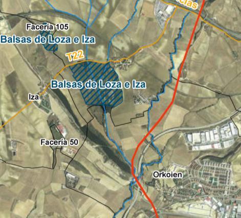 Afección de la línea eléctrica (en rojo) a las Balsas de Loza e Iza