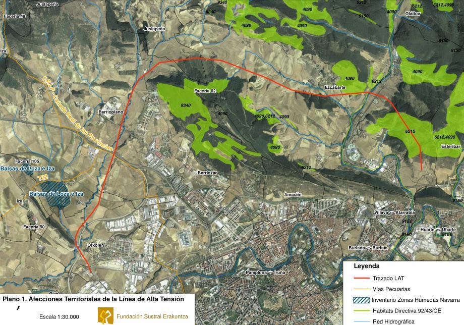 Plano de las afecciones territoriales de la nueva linea de alta tensión por Ezkabarte