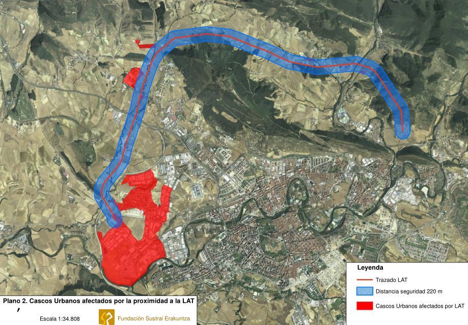 Plano de las afecciones humanas de la nueva linea de alta tensión por Ezkabarte