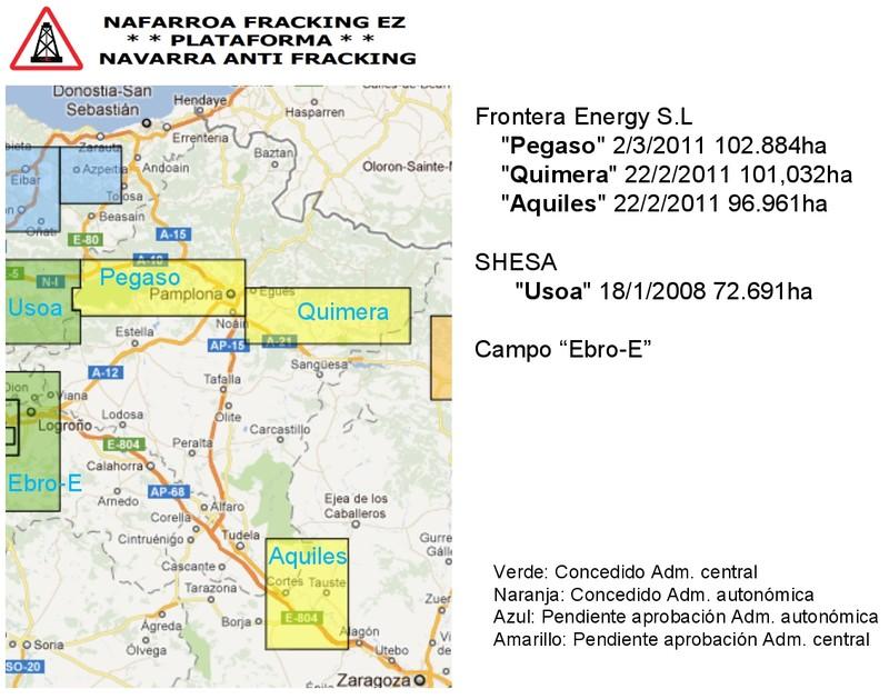 Mapa de las concesiones de Fracking que afectan a Navarra
