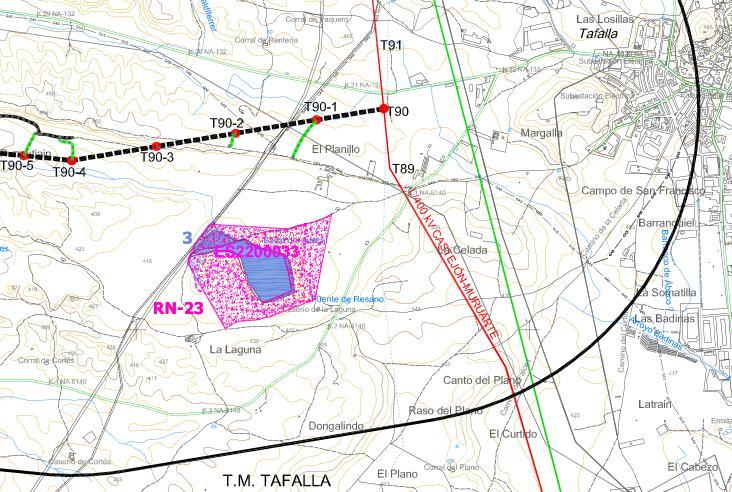 Situación de las torretas actuales en relación a la Laguna del Juncal