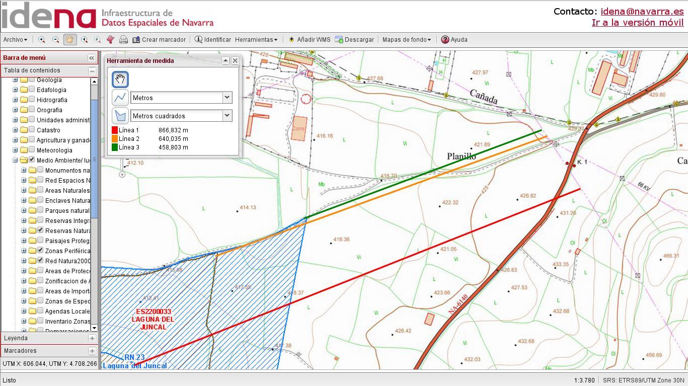 Imagén 2: zonas protegidas y distancias a la línea actual