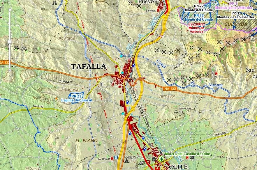 Imagen de IDENA de la zona de Tafalla, repleta de infraestructuras