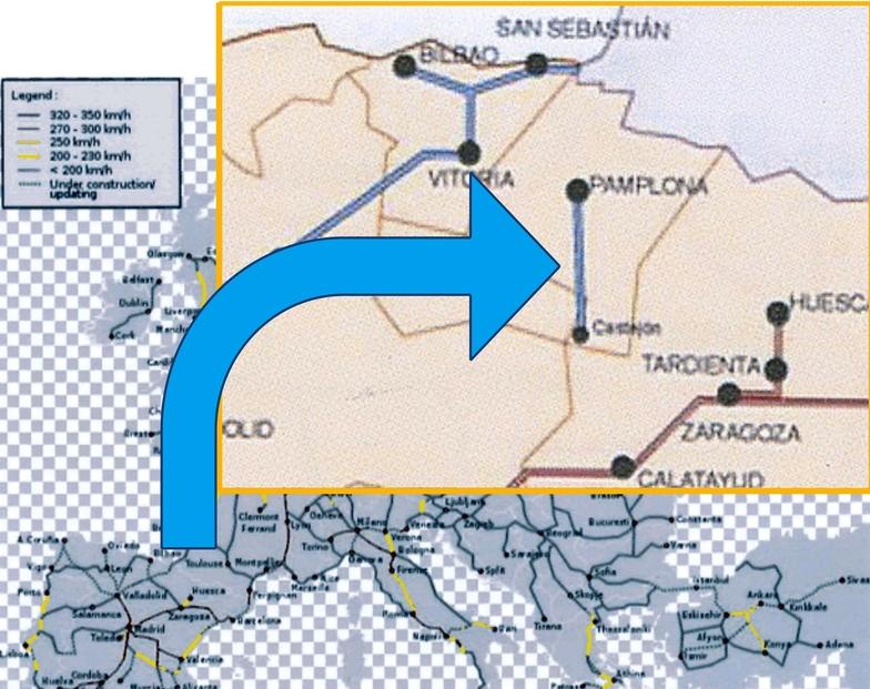 Mapa del TAV navarro en el contexto europeo