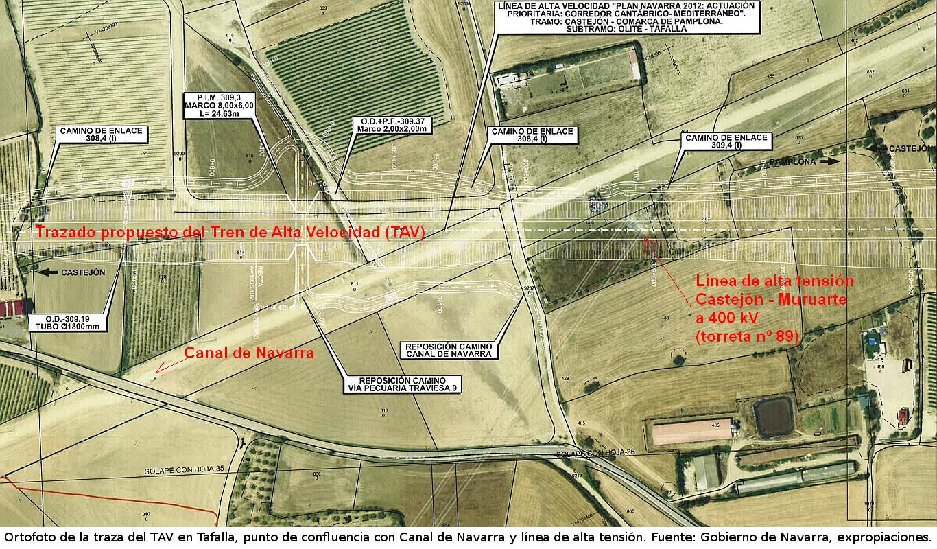 Imagen tomada del expediente de expropiaciones del TAV en Tafalla. Se aprecia la confluencia de 3 infraestructuras: TAV, Canal de Navarra y Línea Eléctrica de Alta Tensión Castejón - Muruarte.