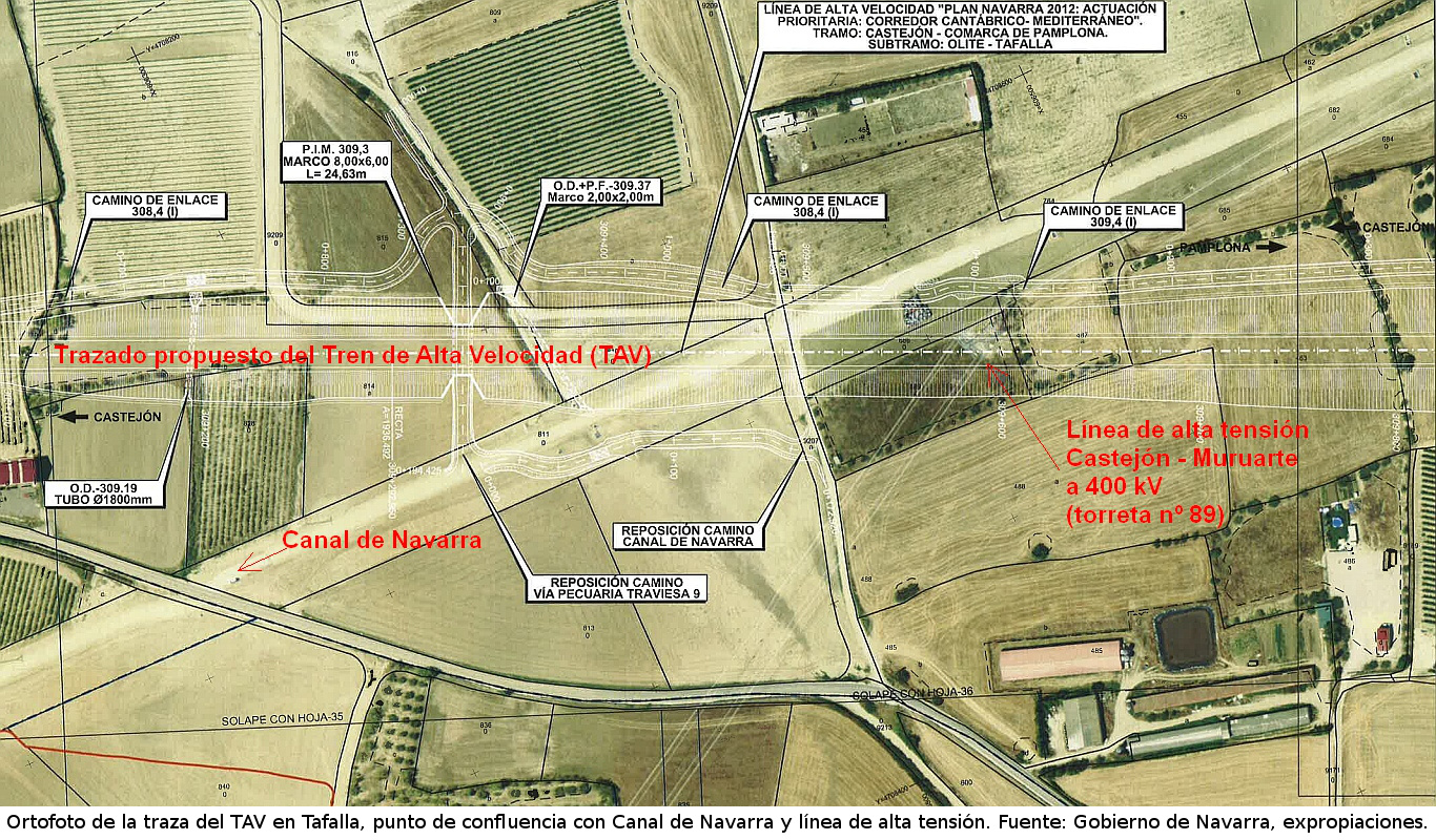 Image of the expropriation's report on High Speed Rail (HSR) in Tafalla, Navarre. Confluence of 3 infrastructures: HSR, Canal de Navarra and High Voltage Power Line Castejón - Muruarte.
