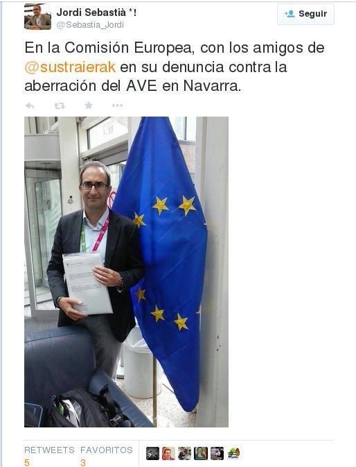 Imagen de la intervención en Twitter de Jordi Sebastiá tras la presentación de la denuncia