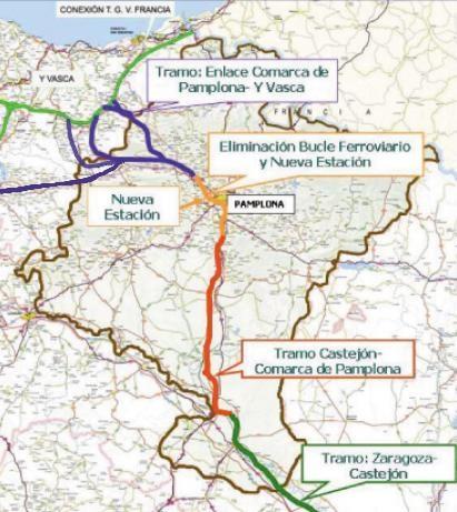 Plano del TAV en Navarra
