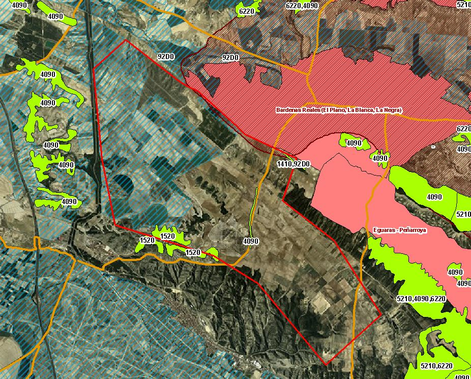 Plano del emplazamiento del parque eólico Cavar