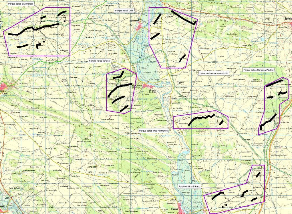 Plano de situación de los parques eólicos de Agrowind