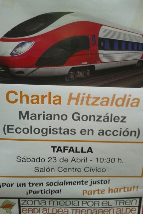 Cartel de la charla en Tafalla