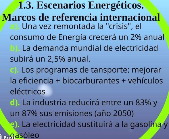 Diapositiva de nuestra presentación que refleja los presupuestos de partida del Plan Energético