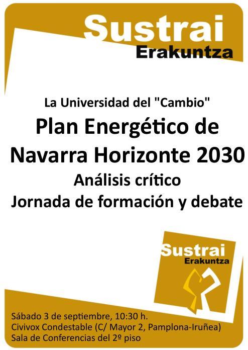 Cartel jornada 3 septiembre sobre Plan Energético