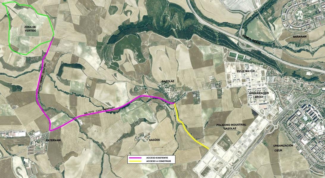 Plano de situación del Vertedero de Ibero-Ororbia, cercano a Zizur y a Etxabakoitz...