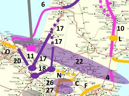 Proyectos propuestos de interconexión eléctrica entre España y Francia, entre ellas la línea Iruñerria - Francia (17) aquí alegada, y la Iruñerria - Itxaso (20), sustituta de la antigua Dicastillo - Itsaso...