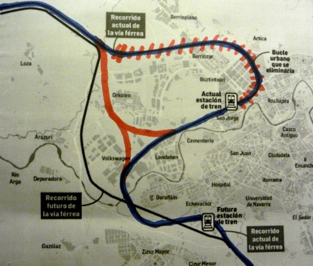 Plano propuesta Julen Mendiguren estacion Pamplona sin eliminar bucle