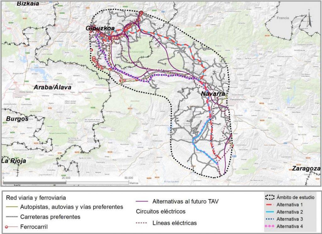 Alternativas para la línea eléctrica de alta tensión Navarra - Gipuzkoa e interacción con otras infraestructuras