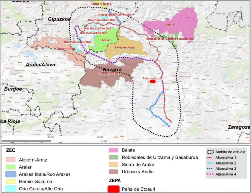 Alternativas para la línea eléctrica de alta tensión Navarra - Gipuzkoa y afección a espacios protegidos
