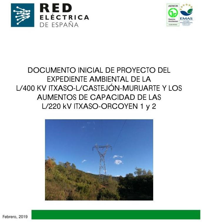 Portada del documento inicial del proyecto de línea eléctrica de alta tensión Muruarte - Itxaso